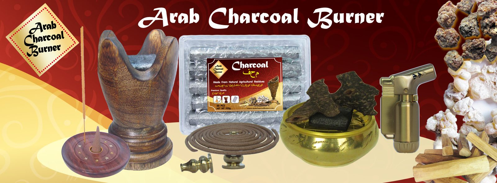 ArabCharcoalBurner – Premium Wood & Brass Charcoal Burner, Incense Burner, Incense Holder, Natural Charcoal